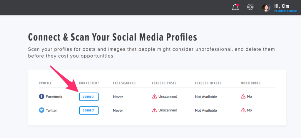 Connecting your social profiles if needed