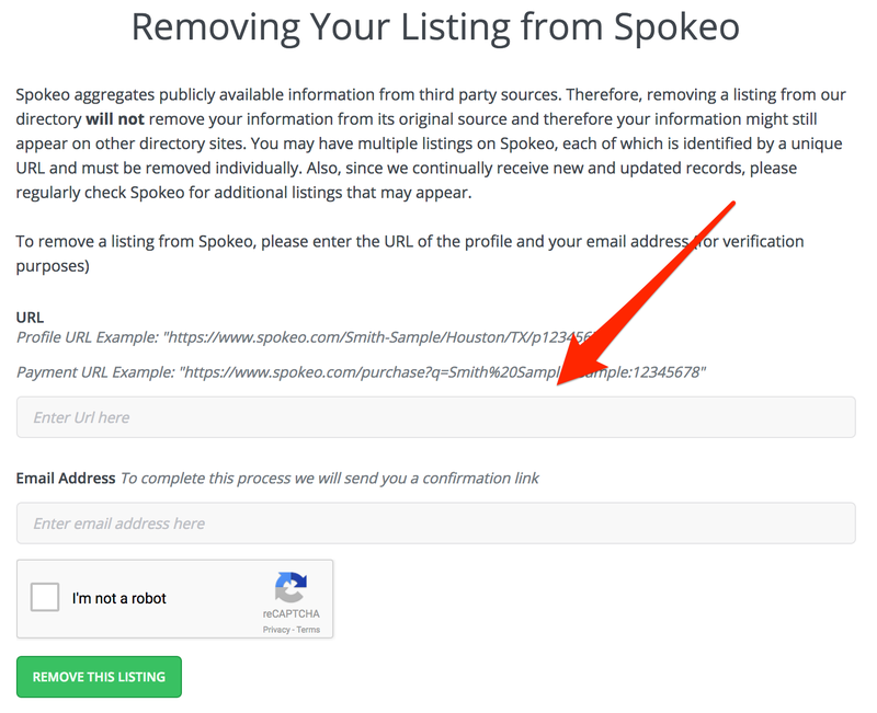 The final Spokeo opt out step where you paste your URL