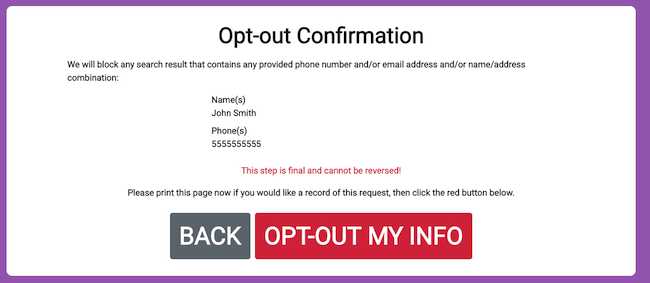 spy dialer opt out confirmation