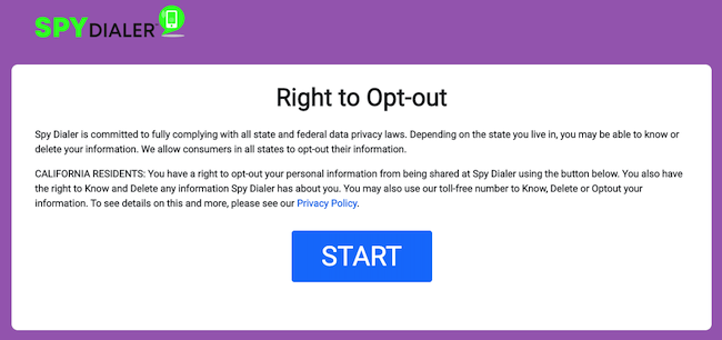 spy dialer opt out page