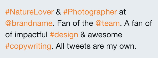 Example of too many hashtags in a Twitter bio