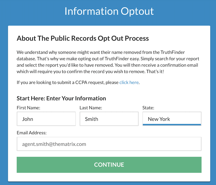 truthfinder opt out form
