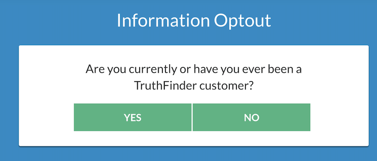 Truthfinder opt out screen