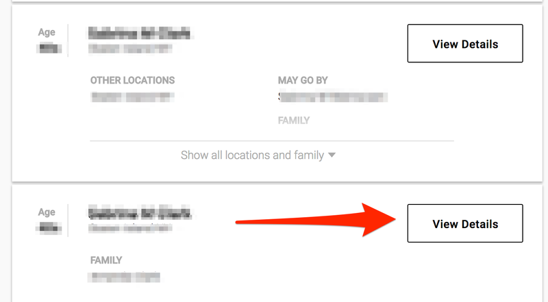 View details and remove your name from Whitepages