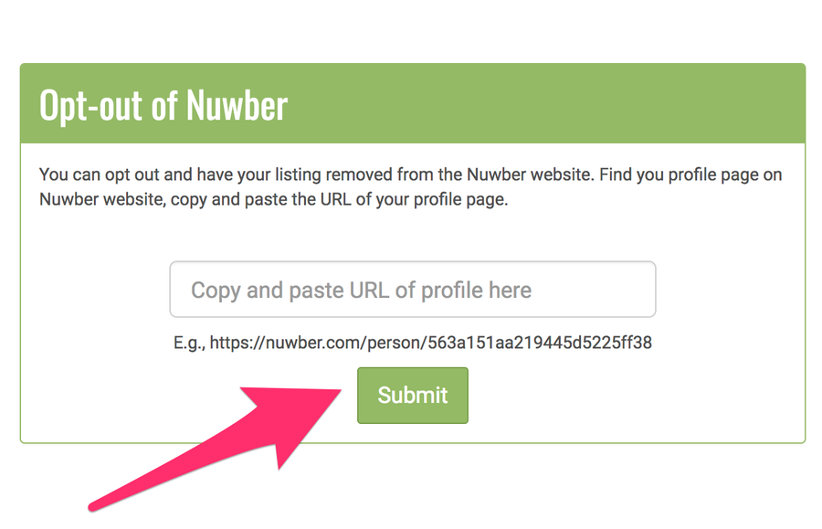 Visit the Nuwber removal page to paste in your URL