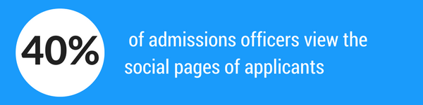 40 percent of admission officers view the social pages of applicants.