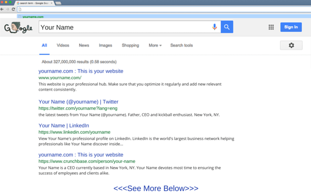 Example of personal search results in Google
