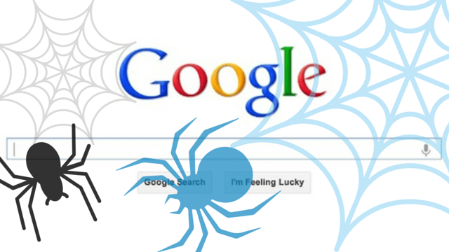 Google search bar with spider graphics to illustrate web crawlers