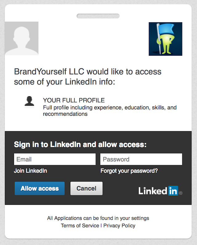 Brandyourself Access LinkedIn
