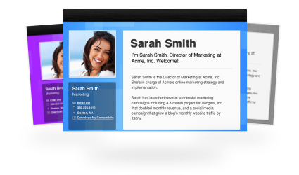Sample personal web pages that show name, title, and contact information